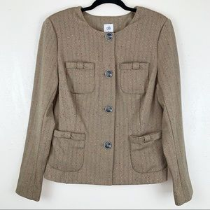 CAbi #3170 Penny blazer in tan herringbone